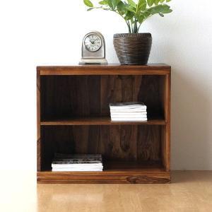 オープンシェルフ 木製 無垢 2段 サイドボード 収納棚 飾り棚 アンティーク アジアン おしゃれ 天然木 完成品 シーシャムウッドオープンサイドボード|gigiliving