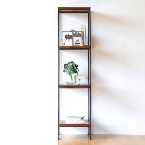 シェルフ 木製 アイアン 本棚 おしゃれ シンプル アジアン ディスプレイラック 飾り棚 飾棚 オープンラック シーシャムとアイアンのシェルフ スリム|gigiliving