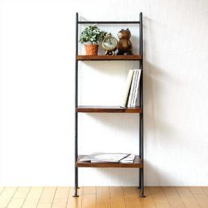 ラダーラック 棚 木製 飾り棚 飾棚 おしゃれ アイアンとシーシャムの3段ラダーシェルフ|gigiliving