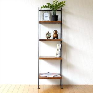 ラダーラック 棚 木製 飾り棚 飾棚 おしゃれ アイアンとシーシャムの4段ラダーシェルフ|gigiliving