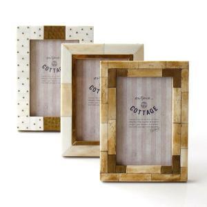 フォトフレーム おしゃれ アンティーク 写真立て 壁掛け 卓上 L判 ゴールド ボーン&ブラスフォトフレームL 3タイプ|gigiliving