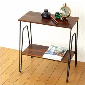 サイドテーブル おしゃれ 木製 アイアン アジアン モダン シンプル スリム 収納 棚 ソファサイドテーブル ベッドサイドテーブル シーシャム2段サイドテーブル|gigiliving