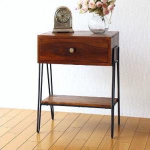サイドテーブル 木製 アイアン おしゃれ ベッド ソファ 棚付き ベッドサイドテーブル 収納 玄関 寝室 ナイトテーブル シーシャムボックスサイドテーブル A|gigiliving
