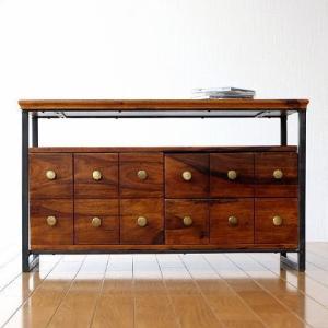 テレビ台 テレビボード 木製 アイアン コンパクト おしゃれ 完成品 アイアンとシーシャムの3ドロアーテレビボード|gigiliving