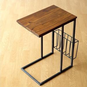 サイドテーブル 木製 アイアン コの字型 ソファーサイドテーブル ベッド 雑誌 新聞 収納 モダン シーシャムとアイアンのサイドテーブル マガジンラック付き|gigiliving