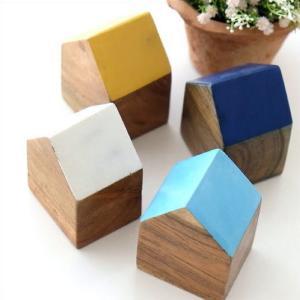 木製 オブジェ 置物 おしゃれ かわいい 小物 おうち 家 インテリア ウッドハウスブロック 4カラー|gigiliving