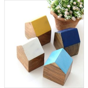 木製 オブジェ 置物 おしゃれ かわいい 小物 おうち 家 インテリア ウッドハウスブロック 4カラー|gigiliving|02