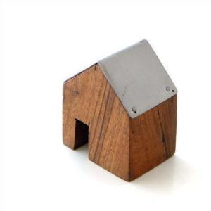 木製 オブジェ 置物 おしゃれ かわいい 小物 おうち 家 インテリア ウッドハウス アイアンルーフ S|gigiliving