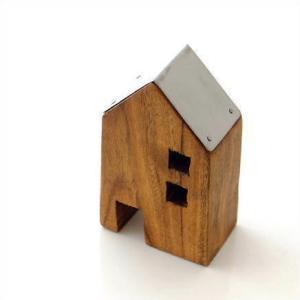 木製 オブジェ 置物 おしゃれ かわいい 小物 おうち 家 インテリア ウッドハウス アイアンルーフ L|gigiliving