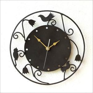 壁掛け時計 壁掛時計 掛け時計 掛時計 アイアン アンティーク かわいい おしゃれ レトロ アジアン 鳥 雑貨 ウォールクロック アイアンのメルヘンクロック C|gigiliving