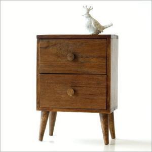 小物入れ 引き出し 木製 ミニチェスト チーク材 おしゃれ かわいい 卓上 ケース アジアン エスニック モダン レトロ アンティーク チーク引き出し2段ボックスの写真