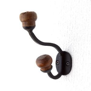 コートフック 帽子掛け 壁掛け ウォールフック 木製 アイアン コートハンガー コート掛け アイアンとウッドのコートフック|gigiliving