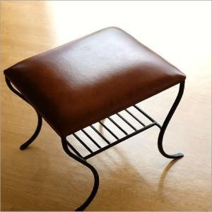 スツール レザー 本革 アイアン おしゃれ 椅子 イス レザースツール レザーチェア アンティーク レトロ 玄関 アイアンと本革のスクエアスツール 棚付き|gigiliving