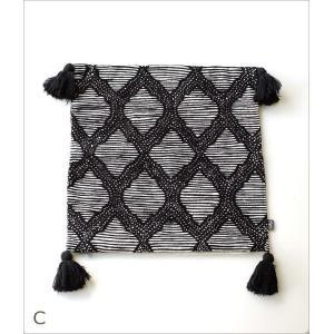 クッションカバー 45×45cm おしゃれ 刺繍 綿100% フリンジ タッセル ファスナー付き 刺繍クッションカバー3タイプ|gigiliving|07