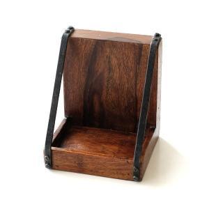 ブックエンド 木製 おしゃれ アンティーク 本立て ブックスタンド 天然木 アイアン モダン アジアン 収納付き トレー付ブックエンド|gigiliving