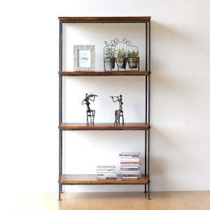 シェルフ 木製 アイアン 本棚 おしゃれ シンプル アジアン 飾り棚 飾棚 ディスプレイラック オープンシェルフ シーシャムとアイアンのシェルフ ワイド|gigiliving