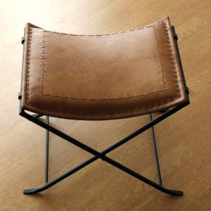 スツール アンティーク おしゃれ 椅子 いす イス ベンチ レザーチェア レザーチェアー 革製 鉄脚 レトロ モダン アイアンと本革の折りたたみスツール A|gigiliving