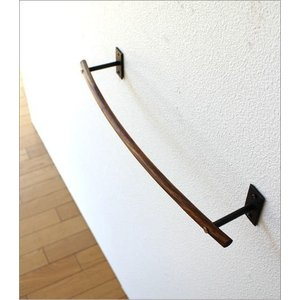 タオルハンガー タオル掛け アイアン 木製 洗面所 壁掛け ウッドバーのタオルハンガー A|gigiliving|03