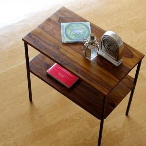 サイドテーブル 木製 アイアン おしゃれ ソファ ベッド 収納 棚付き 寝室 ソファ横 アジアン ベッドサイドテーブル プリンター台 シーシャムサイドテーブル B|gigiliving