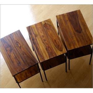 サイドテーブル 木製 アイアン おしゃれ ソファ ベッド 収納 棚付き 寝室 ソファ横 アジアン ベッドサイドテーブル プリンター台 シーシャムサイドテーブル B|gigiliving|04