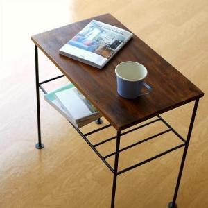 サイドテーブル 木製 アイアン おしゃれ ソファ ベッド スリム ベッドサイドテーブル シンプル 収納 棚付き アンティーク 寝室 玄関 シーシャムサイドテーブル A|gigiliving
