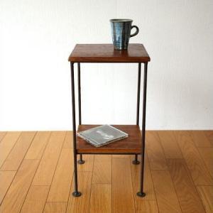 サイドテーブル 木製 アイアン おしゃれ ソファ ベッド スリム ベッドサイドテーブル 棚付き 花台 ナイトテーブル 2段 玄関 寝室 シーシャムサイドテーブル C|gigiliving
