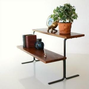 棚 シェルフ 飾り棚 飾棚 スパイスラック 木製 2段ディスプレイラック|gigiliving
