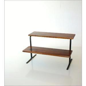 棚 シェルフ 飾り棚 飾棚 スパイスラック 木製 2段ディスプレイラック|gigiliving|06