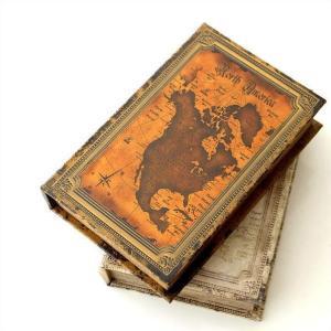 本型小物入れ ブック型収納ボックス 宝箱 洋書 シークレットボックス アンティーク調 レトロ アンティーク風 雑貨 ブックボックス マップ2タイプ|gigiliving