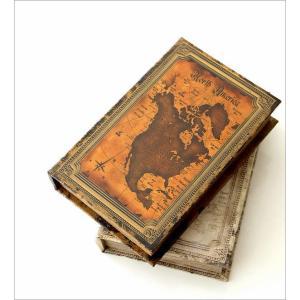 本型小物入れ ブック型収納ボックス 宝箱 洋書 シークレットボックス アンティーク調 レトロ アンティーク風 雑貨 ブックボックス マップ2タイプ gigiliving 02