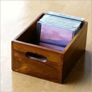 収納ボックス 小物入れ 木製 天然木 無垢 取っ手付き アジアン ナチュラル おしゃれ 木目 整理ボックス CDラック シーシャムウッドシンプルボックスS|gigiliving