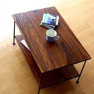 収納棚 シェルフ 木製 アイアン テーブル テレビ台 コンパクト AVラック オーディオラック シーシャムウッド二段棚