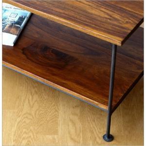 収納棚 シェルフ 木製 アイアン テーブル テレビ台 コンパクト AVラック オーディオラック シーシャムウッド二段棚|gigiliving|04