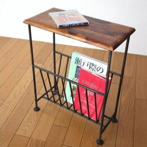 マガジンラック 木製 おしゃれ スリム マガジンスタンド ソファサイドテーブル アンティーク アイアン アジアン家具 シーシャムウッドマガジンテーブルの写真