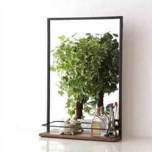 ミラー 壁掛けミラー 鏡 壁掛け 棚付きウォールミラー A|gigiliving