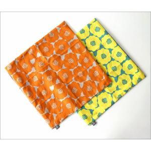 クッションカバー 45×45 おしゃれ 花柄 デザイン 日本製 綿 イエロー オレンジ ポピークッションカバー 2タイプ gigiliving 04