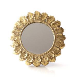 ミラー 壁掛け 卓上 鏡 小さい ミニ 丸 おしゃれ アンティーク ゴールド ウォールミラー ひまわり 向日葵 丸い 丸型 円形 サークル サンフラワーゴールドミラー|gigiliving