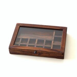 ショーケース 木製 ディスプレイケース コレクションケース 卓上 ガラスケース アクセサリーケース 天然木 無垢 シーシャムウッドの仕切付ショーケース|gigiliving