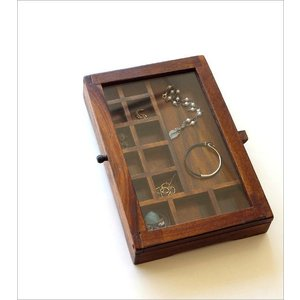 ショーケース 木製 ディスプレイケース コレクションケース 卓上 ガラスケース アクセサリーケース 天然木 無垢 シーシャムウッドの仕切付ショーケース|gigiliving|02