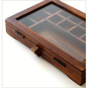 ショーケース 木製 ディスプレイケース コレクションケース 卓上 ガラスケース アクセサリーケース 天然木 無垢 シーシャムウッドの仕切付ショーケース|gigiliving|04