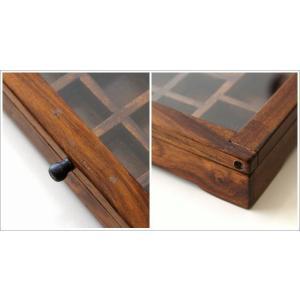 ショーケース 木製 ディスプレイケース コレクションケース 卓上 ガラスケース アクセサリーケース 天然木 無垢 シーシャムウッドの仕切付ショーケース|gigiliving|05
