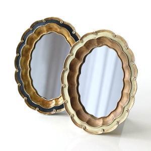 鏡 壁掛けミラー おしゃれ クラシック アンティーク エレガント 楕円形 卓上 ウォールミラー 波型オーバルのレトロミラー2カラー|gigiliving