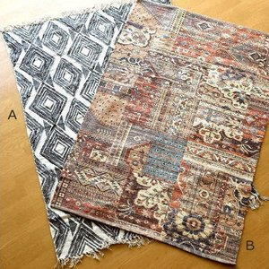 ラグマット おしゃれ 100×140 ラグ マット 長方形 モダン デザイン かっこいい モノトーン エキゾチック じゅうたん 絨毯 プリントラグマットL 2タイプ|gigiliving