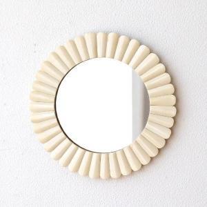 鏡 壁掛けミラー おしゃれ ウォールミラー かわいい アンティーク レトロ エスニック 丸 円形 デザイン 玄関 洗面所 トイレ ボーンサークルミラーIV|gigiliving