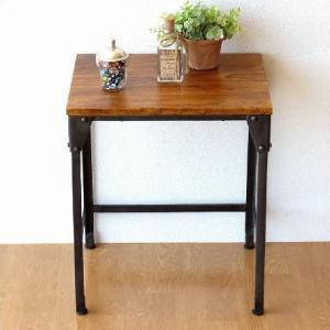 サイドテーブル 木製 アイアン シンプル モダン アンティーク 無垢 天然木 鉄脚 おしゃれ コンソールテーブル 花台 シーシャムとアイアンのネストテーブル S|gigiliving