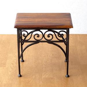 サイドテーブル 木製 おしゃれ ベッドサイドテーブル ソファサイドテーブル 花台 シンプル ナチュラル アジアン アイアンとシーシャムのネストテーブル S|gigiliving