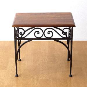 サイドテーブル 木製 おしゃれ ベッドサイドテーブル ソファサイドテーブル 花台 シンプル ナチュラル アジアン アイアンとシーシャムのネストテーブル M|gigiliving