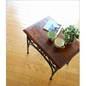 サイドテーブル 木製 おしゃれ ベッドサイドテーブル ソファサイドテーブル 花台 シンプル ナチュラル アジアン アイアンとシーシャムのネストテーブル M gigiliving 02