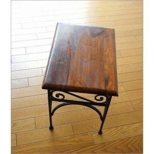 サイドテーブル 木製 おしゃれ ベッドサイドテーブル ソファサイドテーブル 花台 シンプル ナチュラル アジアン アイアンとシーシャムのネストテーブル M gigiliving 05