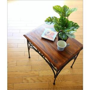 サイドテーブル 木製 おしゃれ ベッドサイドテーブル ソファサイドテーブル 花台 シンプル ナチュラル アジアン アイアンとシーシャムのネストテーブル L|gigiliving|02